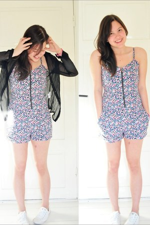 black GINA TRICOT top - violet H&M romper - white Converse sneakers