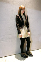 black Payless boots - gold TFNC via ASOS dress - black H&M blazer