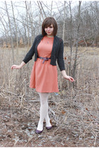 charcoal gray Old Navy sweater - deep purple modcloth shoes - salmon Ruche dress