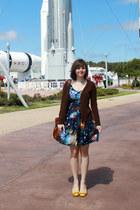 brown asos bag - navy space print modcloth dress - dark brown Delias sweater