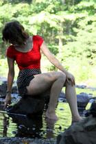 black H&M shorts - red Forever 21 bodysuit