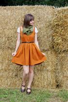 burnt orange Dear Creatures dress - ivory polka-dotted H&M dress