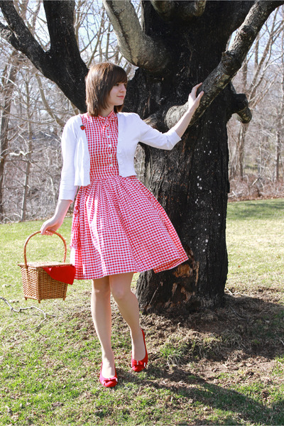 red vintage gingham dress - white cropped Take out sweater