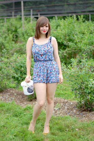 blue floral Forever 21 romper - mustard Payless wedges