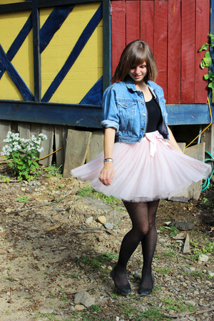 light pink tutu Forever 21 skirt - light blue thrifted denim Gap jacket