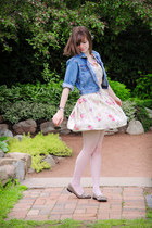 eggshell floral Moon Collection dress - blue thrifted denim Gap jacket