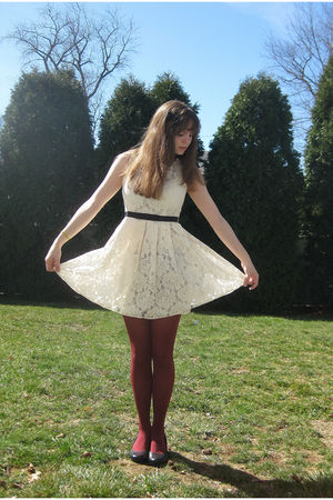 white Forever 21 dress - red modcloth tights - black Mudd shoes - black Forever