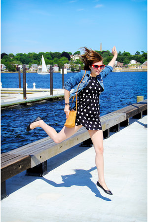 black polka dot H&M dress - blue denim H&M jacket - tan thrifted Fossil purse