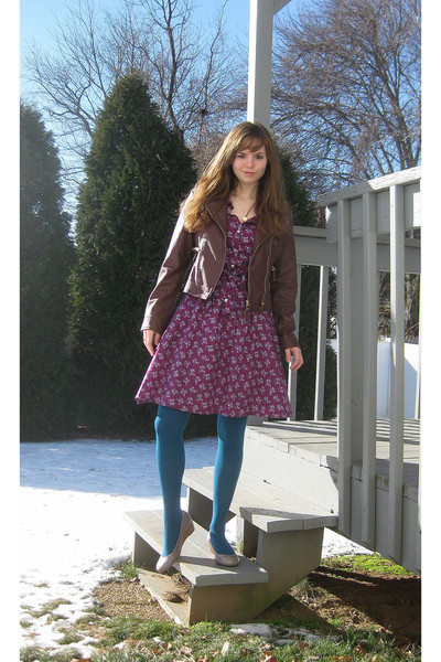 brown Red BBQ jacket - purple H&M LOGG dress - blue Gap tights - gray Jessica Si