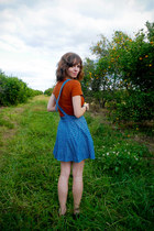 burnt orange Forever 21 top - light blue dress Forever 21 jumper