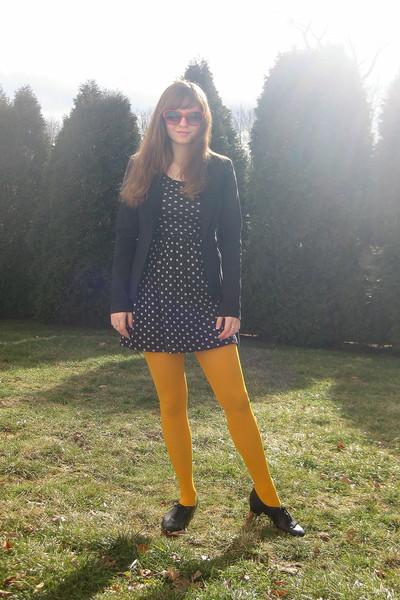 black Forever 21 dress - black iz byer california blazer - yellow Gap tights - b