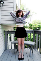 black Forever 21 top - black high-waisted Forever 21 shorts - black Mudd heels