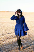 black Mossimo tights - navy modcloth dress - black cat eye sunglasses