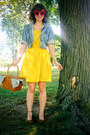 Yellow-delias-dress-blue-thrifted-denim-gap-jacket