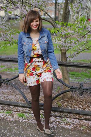 ivory floral Tea n Rose dress - heather gray moccassins liz claiborne shoes