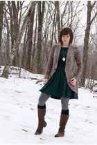 brown Timberland boots - forest green asos dress - brown JJ Always sweater