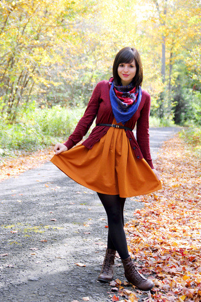 black tights - dark brown xhilaration boots - burnt orange Dear Creatures dress
