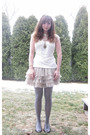 White-kohls-shirt-pink-h-m-skirt-gray-no-boundaries-tights-brown-apt9-shoe