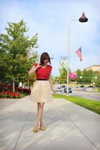 ivory tulle Forever 21 skirt - red striped Self Esteem dress