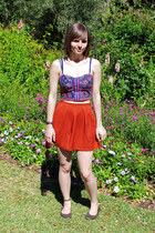 purple cropped American Eagle top - burnt orange high-waisted Forever 21 shorts