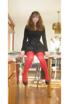 black Forever 21 dress - red tagless tights - black Mudd shoes - black Forever 2