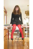 black Forever 21 dress - red tagless tights - black Mudd shoes - black Forever 2