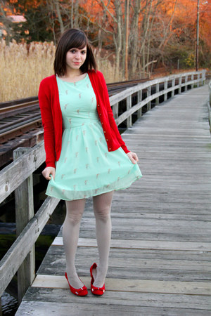 red Dana Buchman shoes - aquamarine sugarhill boutique dress