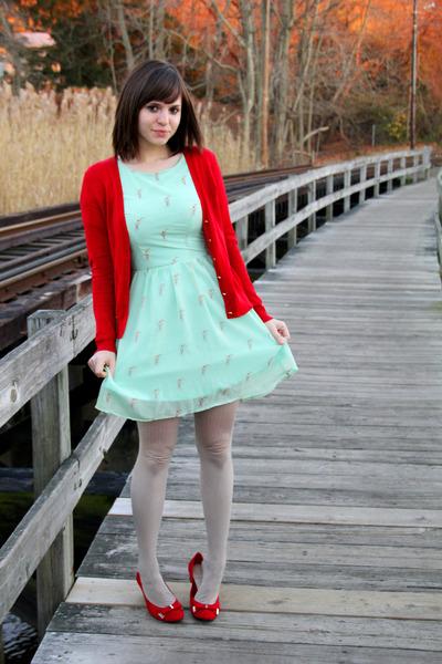 red Dana Buchman shoes - aquamarine sugarhill boutique dress
