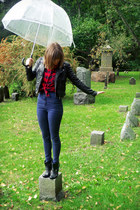 black Payless boots - navy high-waisted BDG jeans - black pleather H&M jacket