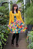 navy floral modcloth dress - black Apt 9 tights - dark brown Clarks pumps