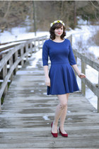 blue Sheinside dress - nude cat print Forever 21 tights