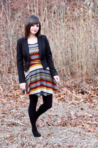 black H&M blazer - navy patterned pink owl dress - black sweater Apt 9 tights