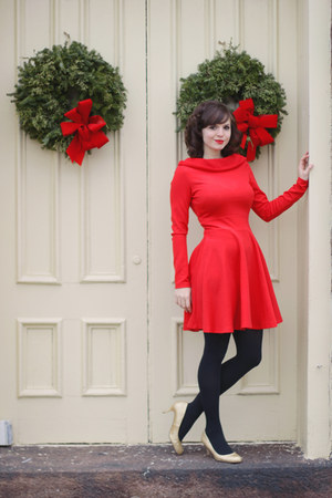 red asos dress - black Target tights - gold modcloth heels
