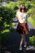 brown H&M sunglasses - dark brown Forever 21 skirt - white Payless wedges