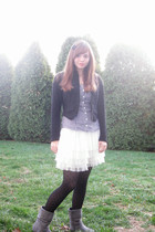 black Forever 21 Twist jacket - purple H&M shirt - white H&M skirt - black Ameri