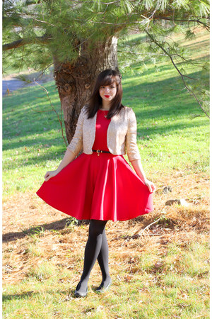 red modcloth dress - gold Forever 21 jacket - black Target tights