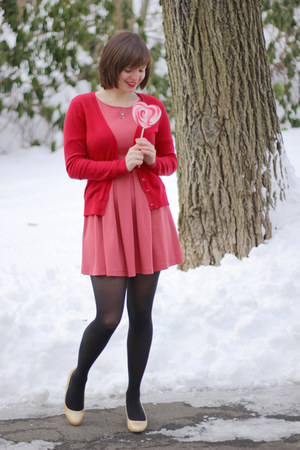 pink Forever 21 dress - black Hanes tights - red New York & Co cardigan