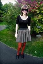 burnt orange tights - charcoal gray H&M skirt - black Forever 21 bodysuit