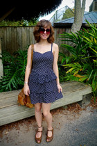 brown Forever 21 bag - navy polka-dotted H&M dress - brown H&M sunglasses