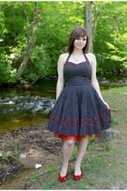 ruby red Dana Buchman pumps - black polka dotted modcloth dress