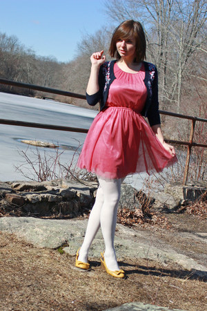 navy embroidered Forever 21 sweater - bubble gum H&M dress - white tights