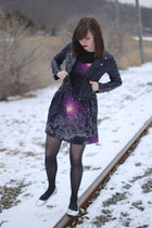 black galaxy print sugarhill boutique dress - black faux leather H&M jacket