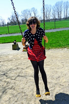 striped kohls dress - dotted American Eagle tights - Nine West sunglasses
