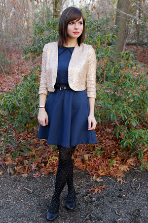 gold sequined Forever 21 jacket - navy coincidence & chance dress