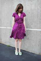 purple floral H&M dress - aquamarine mint green restricted pumps
