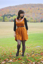 black collared Forever 21 shirt - burnt orange Dear Creatures dress