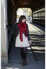 Dark-brown-target-boots-ivory-lily-rose-dress-black-h-m-jacket