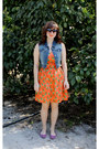 Orange-pineapple-print-modcloth-dress-black-sunglasses