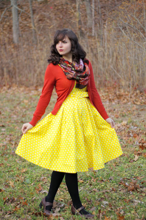 yellow polka dot Dolly and Dotty dress - black Apt 9 tights