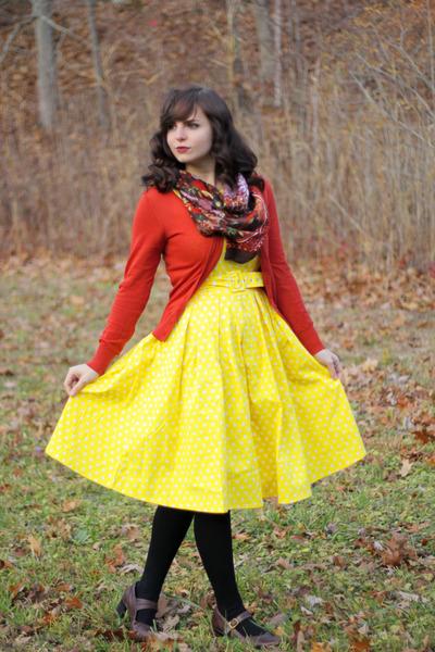 yellow polka dot Dolly and Dotty dress - black Apt 9 tights